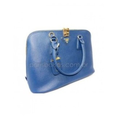 Bolsa De Couro Legitimo Azul : Bolsa prada couro leg?timo azul